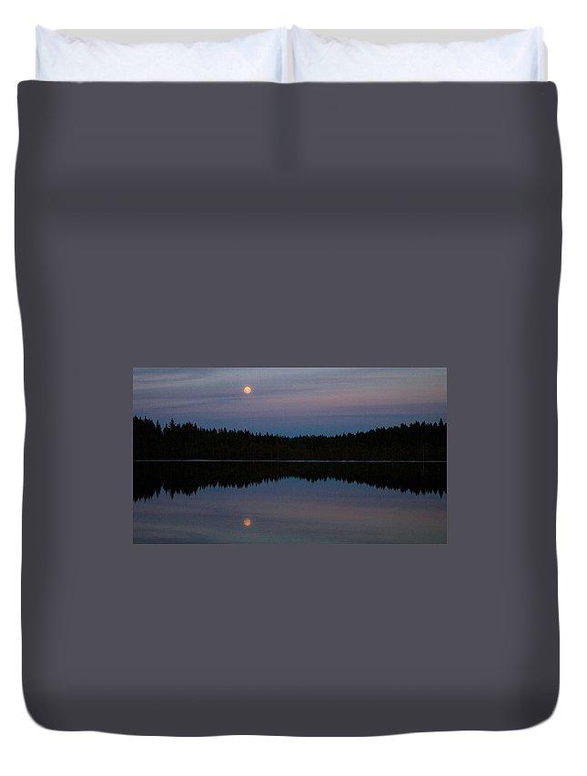 Lehtokukka Duvet Cover featuring the photograph Moon Over Kirkas-soljanen by Jouko Lehto