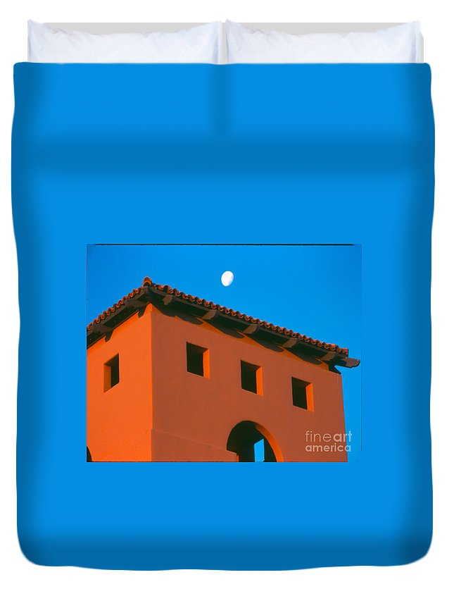 Duvet Cover featuring the photograph Moon Over Red Adobe Horizontal by Heather Kirk