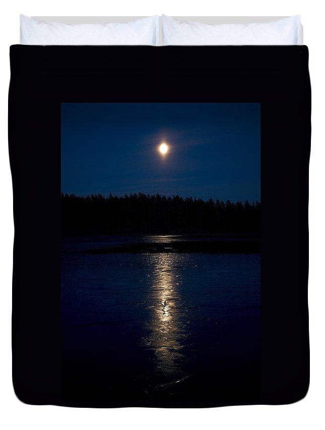 Lehtokukka Duvet Cover featuring the photograph Moon Over Saari-soljanen 1 by Jouko Lehto