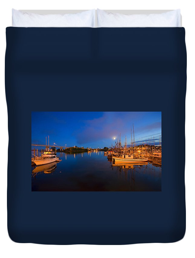 Marina Duvet Cover featuring the photograph Moon Over Sitka Marina by Mike Dawson