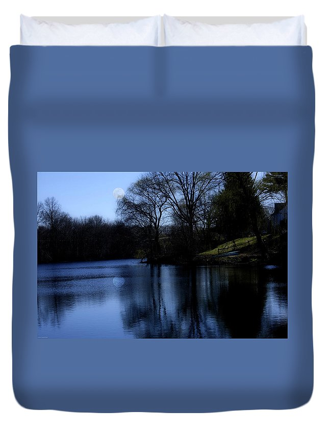 Moon Duvet Cover featuring the digital art Moon Over The Charles by Edward Cardini