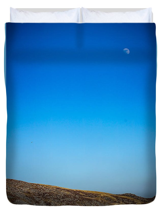 Duvet Cover featuring the photograph Moon Over The Mountains by Marc Daly