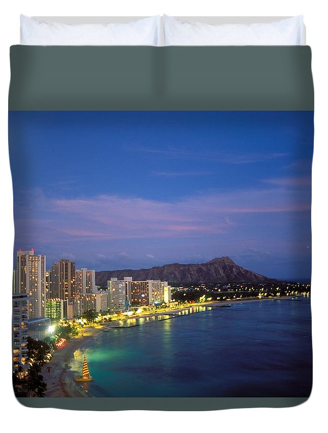 Beach Duvet Cover featuring the photograph Moon Over Waikiki by William Waterfall - Printscapes