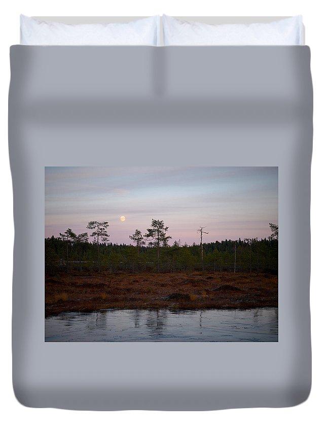 Lehtokukka Duvet Cover featuring the photograph Moon Over Wetlands by Jouko Lehto