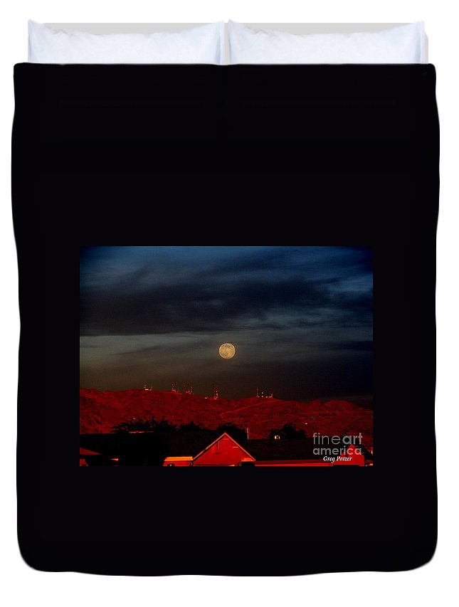 Patzer Duvet Cover featuring the photograph Moon Over Yuma by Greg Patzer