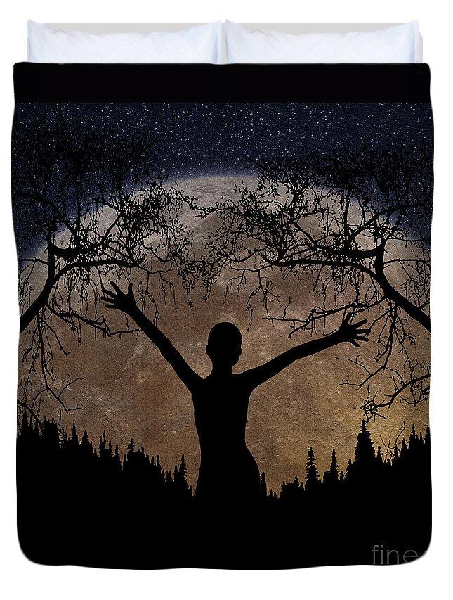 Moon Rising Duvet Cover featuring the digital art Moon Rising by Peter Piatt