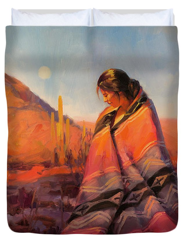 Southwest Duvet Cover featuring the painting Moon Rising by Steve Henderson
