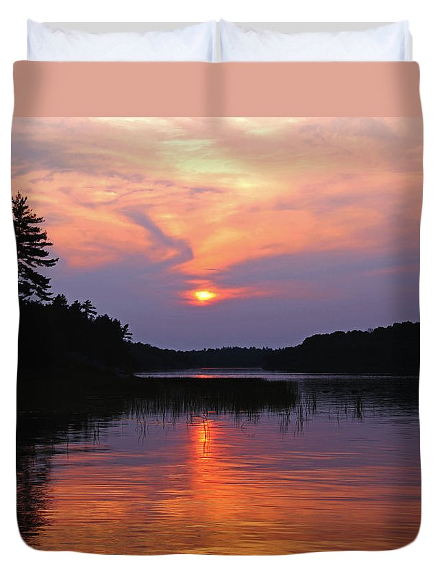 Moon River Duvet Cover featuring the photograph Moon River Silhouette by Debbie Oppermann