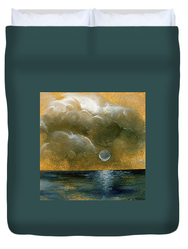 Moon Duvet Cover featuring the painting Moon Scape by Karen Doyle