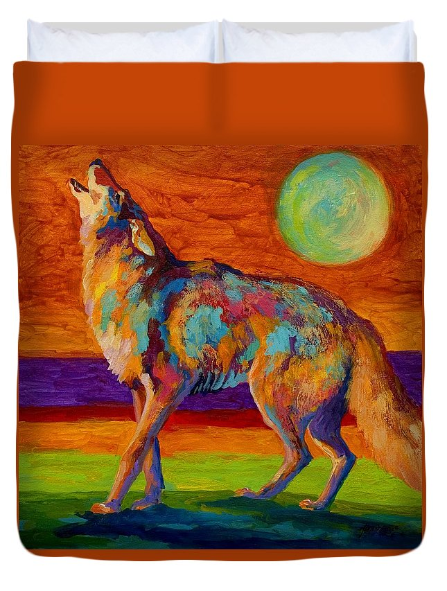 Coyote Duvet Cover featuring the painting Moon Talk - Coyote by Marion Rose
