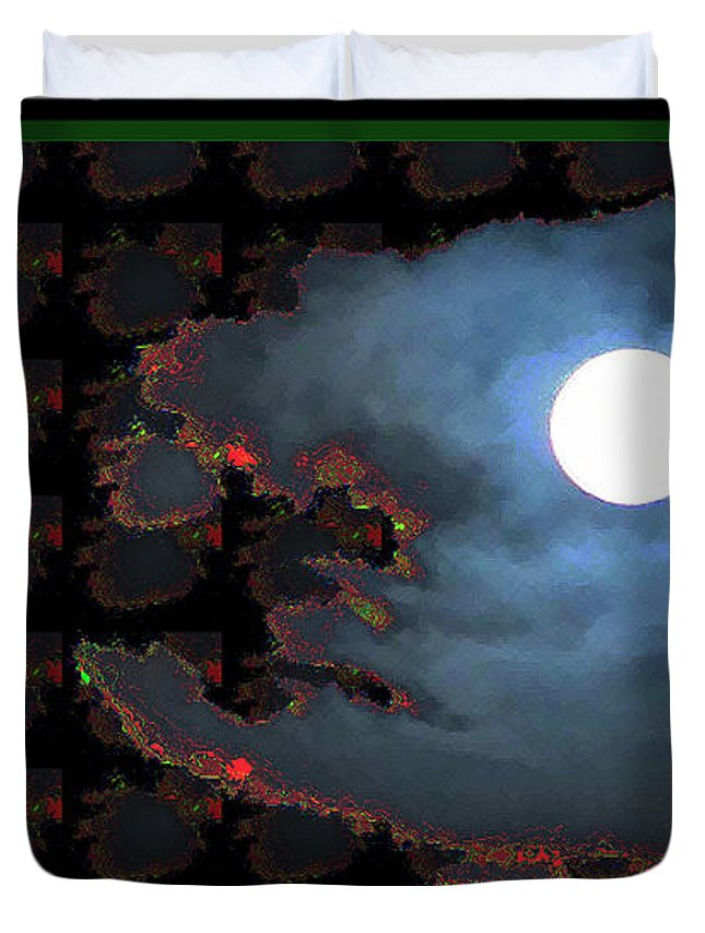 Moon Duvet Cover featuring the digital art Moon Through Clouds Photography With Graphic Flavour Created By Navinjoshi At Fineartamerica.co by Navin Joshi