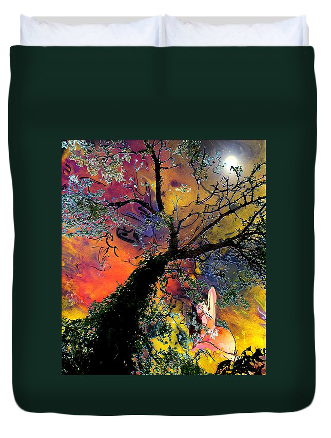 Eroticism Duvet Cover featuring the painting Moonbathing by Miki De Goodaboom