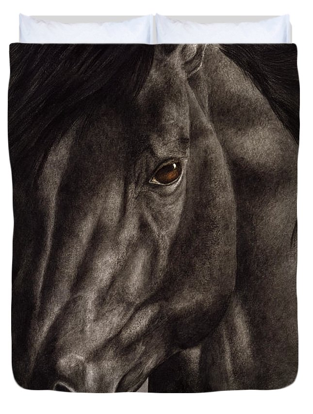 Horse Duvet Cover featuring the painting Moondark by Pat Erickson