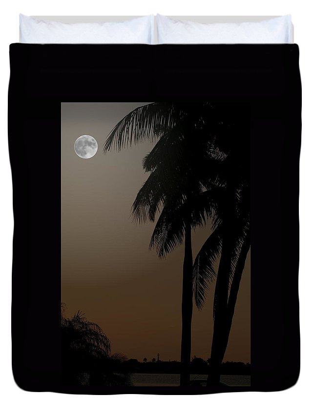 Moonlight Duvet Cover featuring the photograph Moonlight And Palms by Diane Merkle