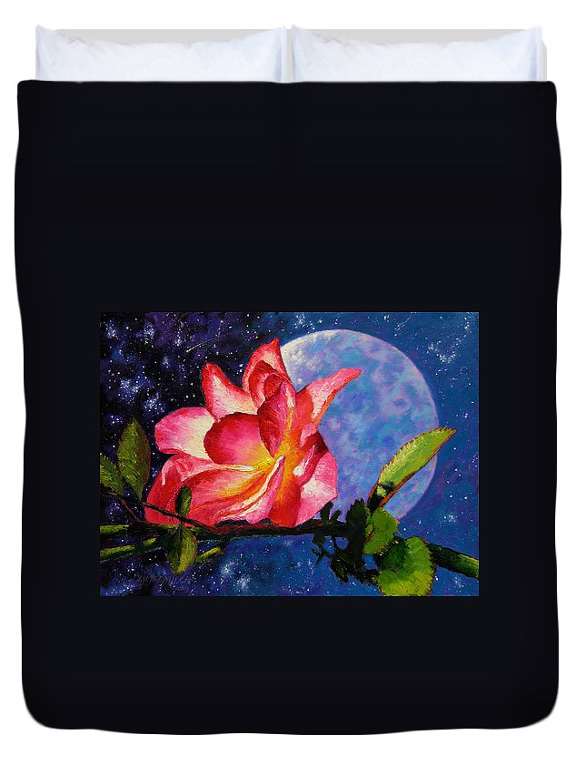 Moonlight Duvet Cover featuring the painting Moonlight And Roses by John Lautermilch