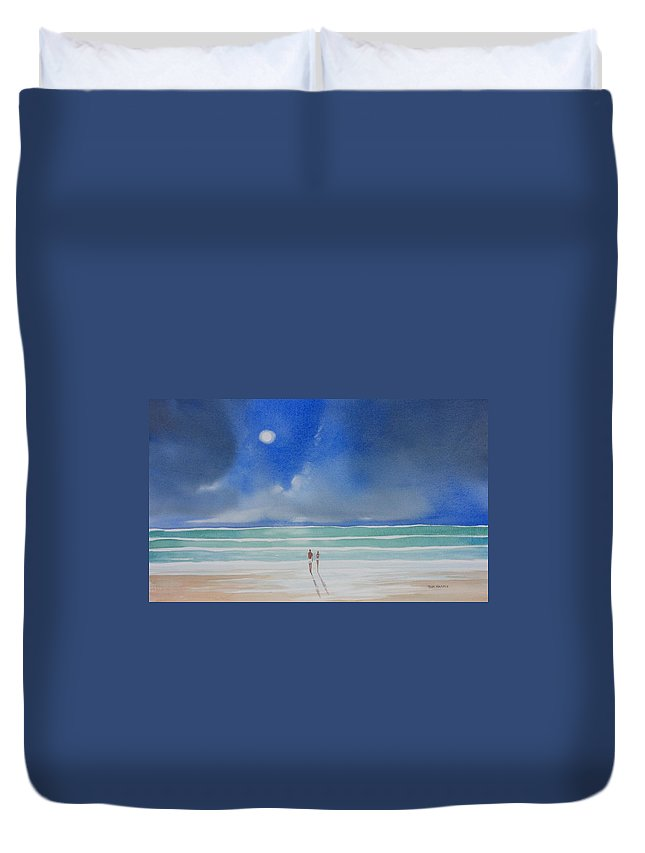 Moonlight Duvet Cover featuring the painting Moonlight At The Beach II by Tom Harris