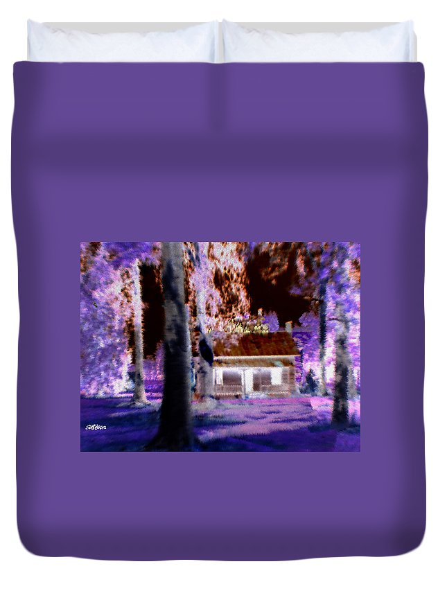 Cabin Duvet Cover featuring the digital art Moonlight Cabin by Seth Weaver
