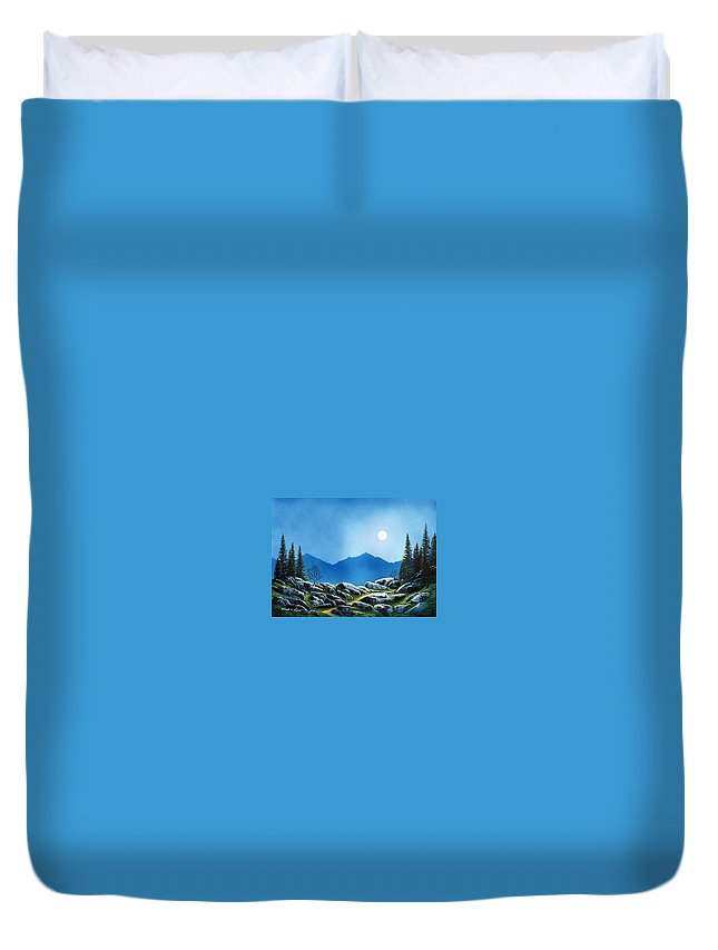 Landscape Duvet Cover featuring the painting Moonlight Hike by Frank Wilson