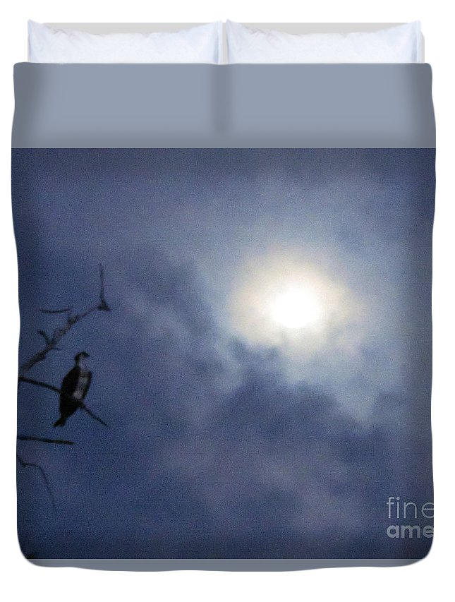 Clouds Duvet Cover featuring the photograph Moonlight Hunter by Marilee Noland