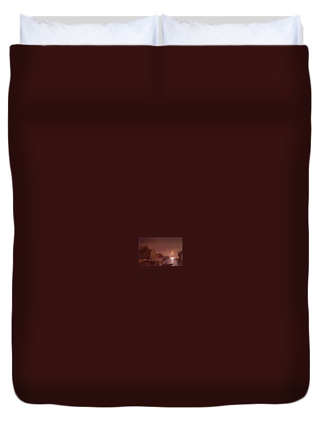 Palace Duvet Cover featuring the digital art Moonlight In Venice Henry Pether by Eloisa Mannion