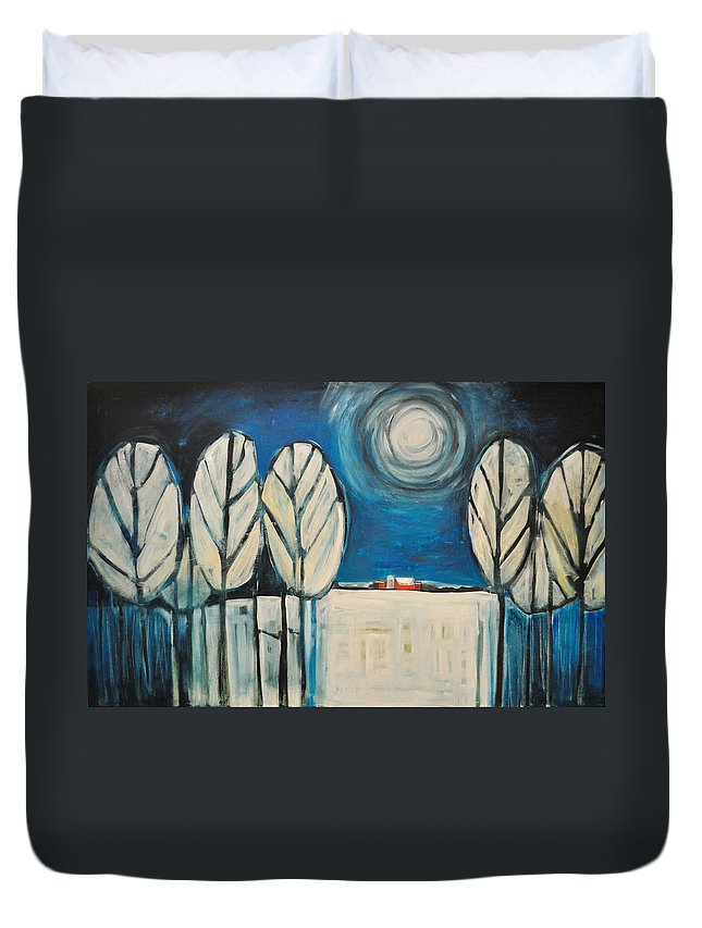 Landscape Duvet Cover featuring the painting Moonlight On The First Snow by Tim Nyberg
