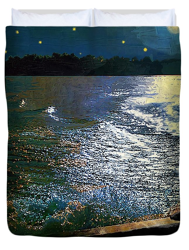 Impasto Duvet Cover featuring the painting Moonlight On The Mississippi by RC DeWinter