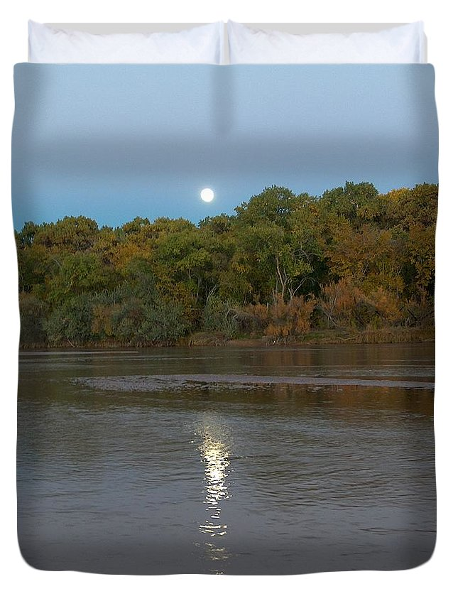 Moonlight Duvet Cover featuring the photograph Moonlight On The Rio Grande by Tim McCarthy