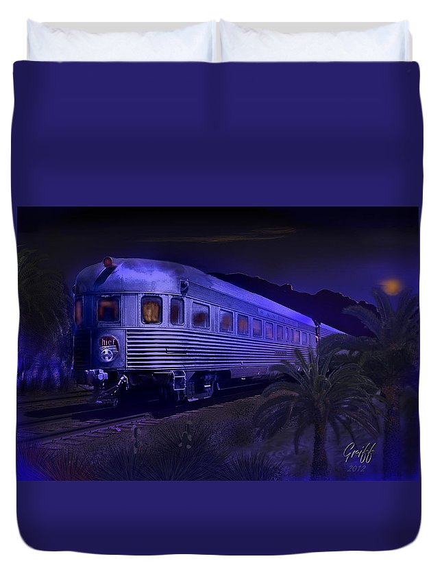 Trains Duvet Cover featuring the digital art Moonlight On The Sante Fe Chief by J Griff Griffin