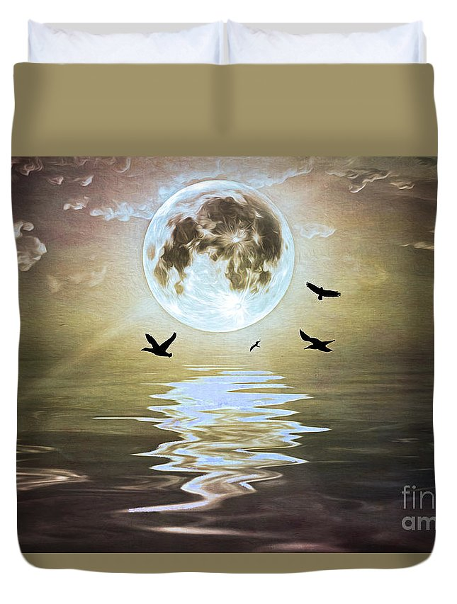 Moonlight Duvet Cover featuring the photograph Moonlight On Water by Laura D Young