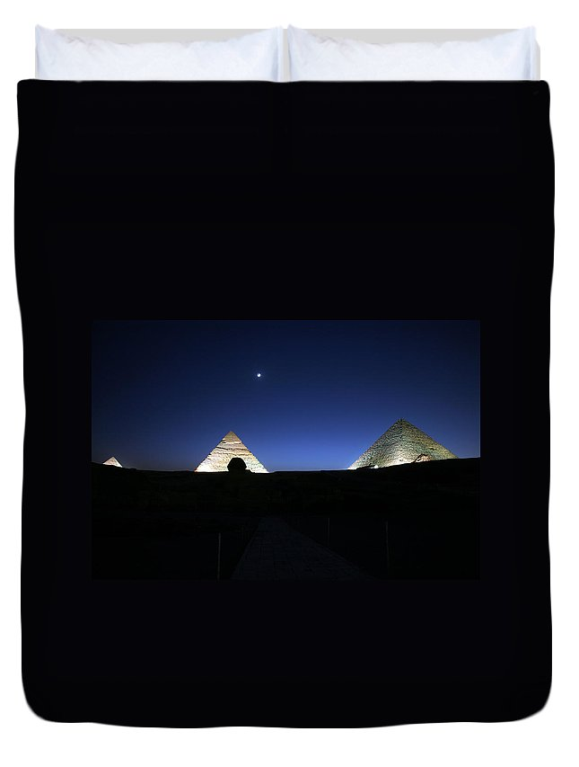 Moonlight Duvet Cover featuring the photograph Moonlight Over 3 Pyramids by Donna Corless
