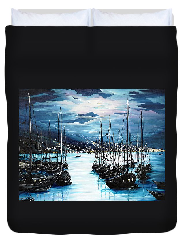 Ocean Painting  Caribbean Seascape Painting Moonlight Painting Yachts Painting Marina Moonlight Port Of Spain Trinidad And Tobago Painting Greeting Card Painting Duvet Cover featuring the painting Moonlight Over Port Of Spain by Karin Dawn Kelshall- Best