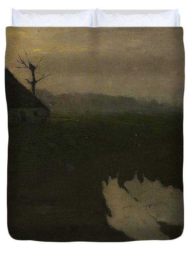 Landscape By Moonlight Duvet Cover featuring the painting Moonlight, Richard Roland Holst by MotionAge Designs