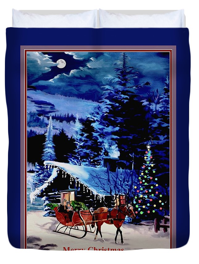 Father And Child Duvet Cover featuring the painting Moonlight Sleigh Ride v2 by Ron Chambers