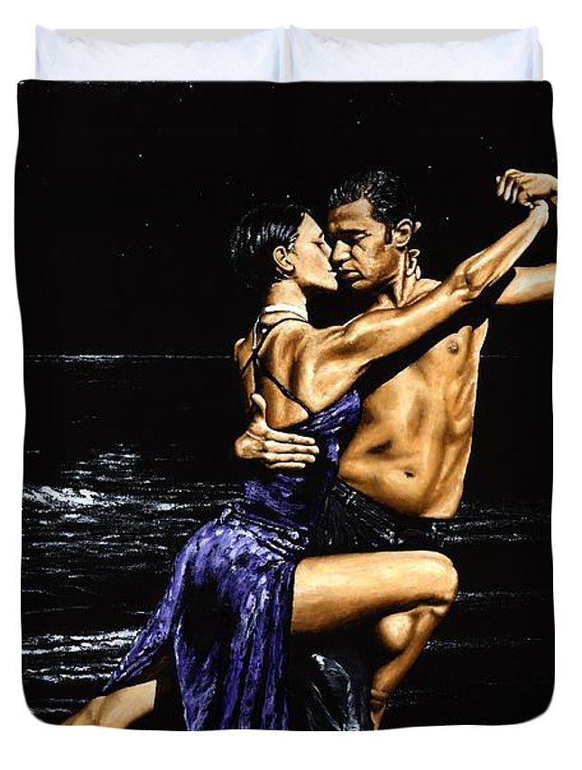 Moonlight Duvet Cover featuring the painting Moonlight Tango by Richard Young