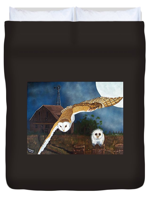Owl Duvet Cover featuring the painting Moonlit Flight by Debbie LaFrance