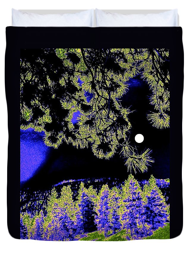 Abstract Duvet Cover featuring the digital art Moonlit High Country by Will Borden