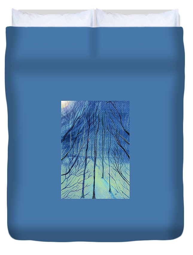 Watercolor Duvet Cover featuring the painting Moonlit In Blue by Brenda Owen