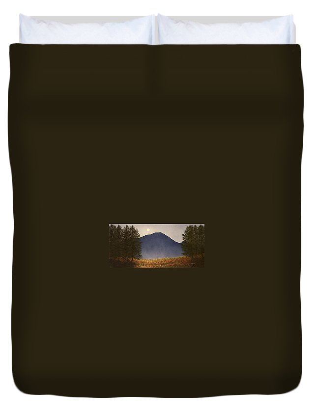 Mountains Duvet Cover featuring the painting Moonlit Mountain Meadow by Frank Wilson
