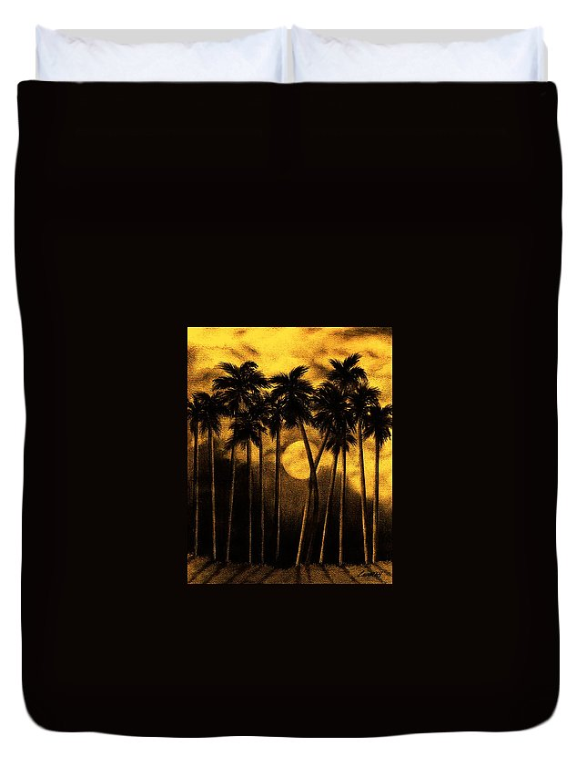 Moonlit Palm Trees In Yellow Duvet Cover featuring the mixed media Moonlit Palm Trees In Yellow by Larry Lehman
