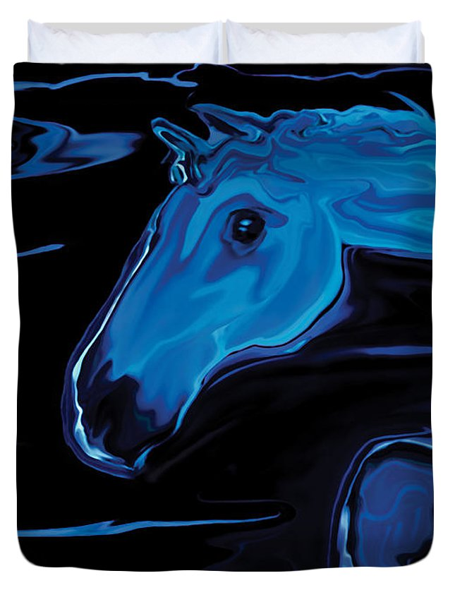 Animal Duvet Cover featuring the digital art Moonlit Run by Rabi Khan