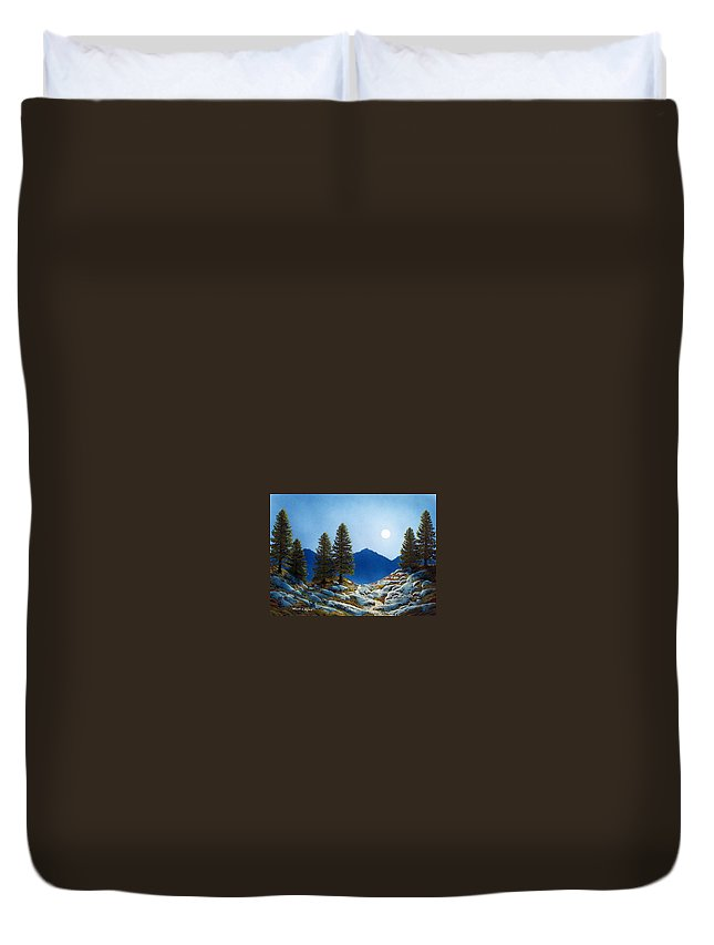 Landscape Duvet Cover featuring the painting Moonlit Trail by Frank Wilson