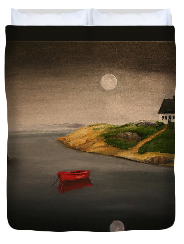 Seascape Duvet Cover featuring the painting Moonlite Night by Timothy Smith