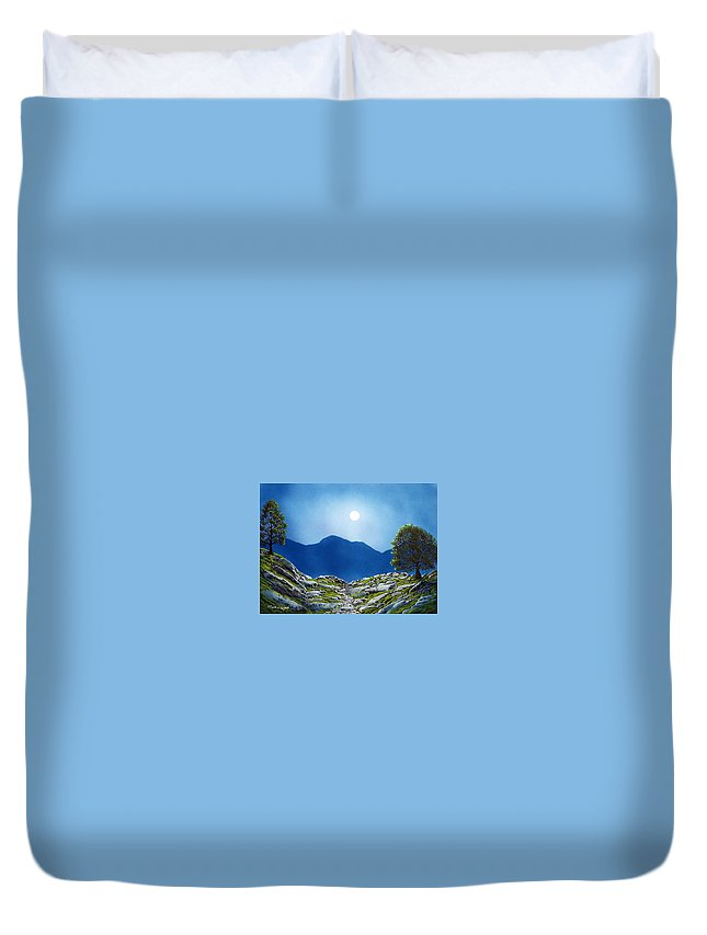 Landscape Duvet Cover featuring the painting Moonrise by Frank Wilson