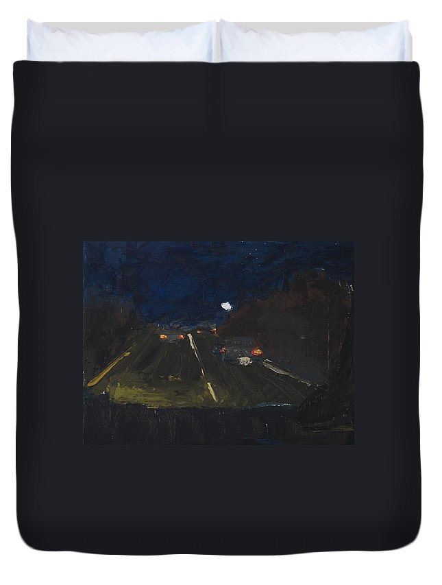 Night Duvet Cover featuring the painting Moonrise On The Road by Gail Eisenfeld