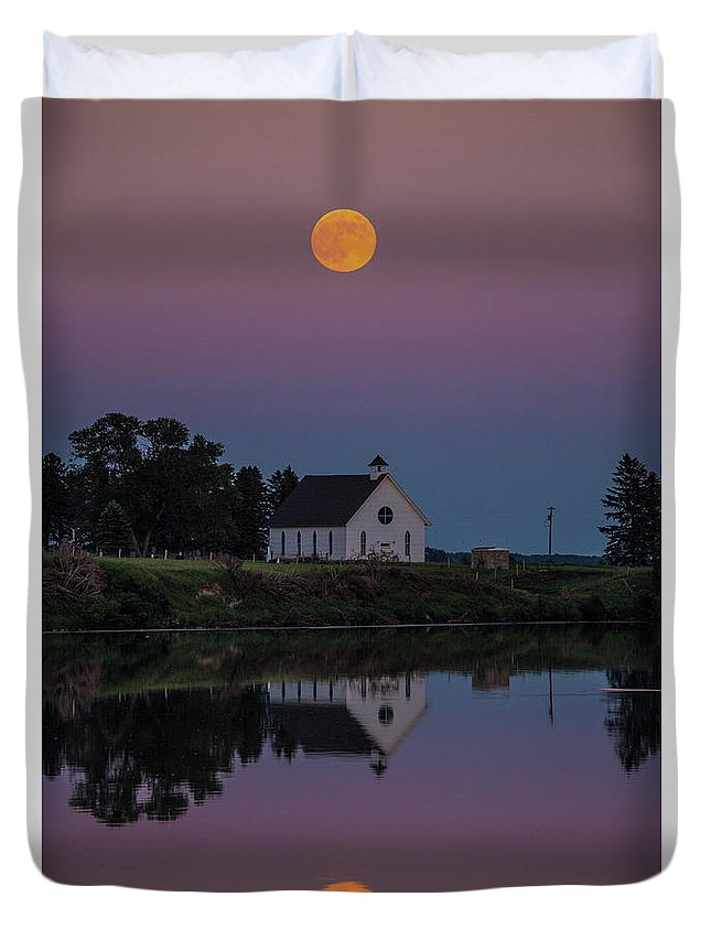Moonrise Duvet Cover featuring the photograph Moonrise Over Lake Badus by Zach Wicks