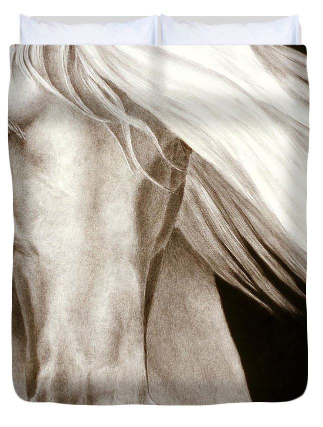 Black And White Horse Paintings Duvet Covers