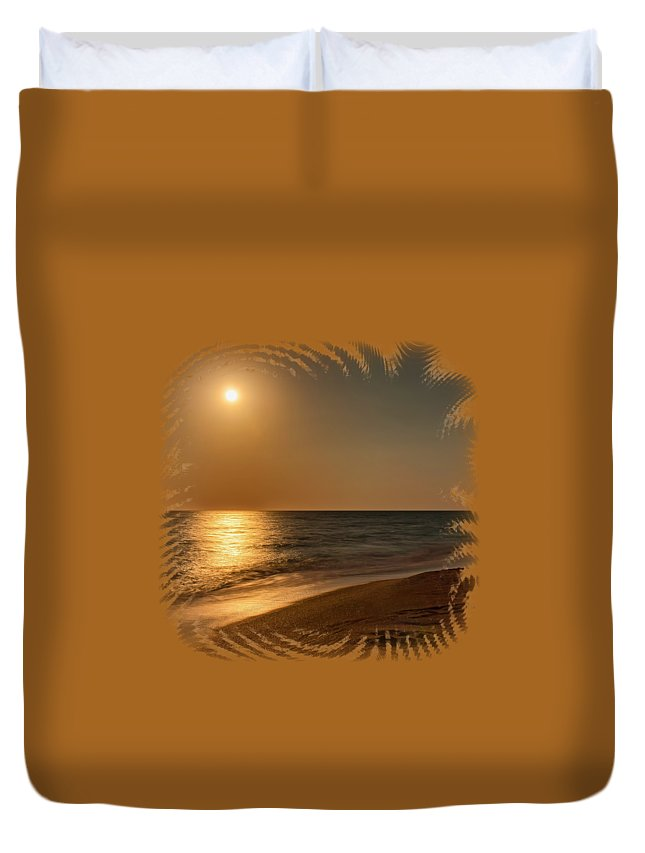 Beach Duvet Cover featuring the photograph Moonscape 3 by John M Bailey