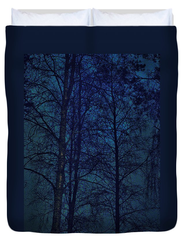 Lehtokukka Duvet Cover featuring the photograph Moonshine 12 Blue Sky by Jouko Lehto