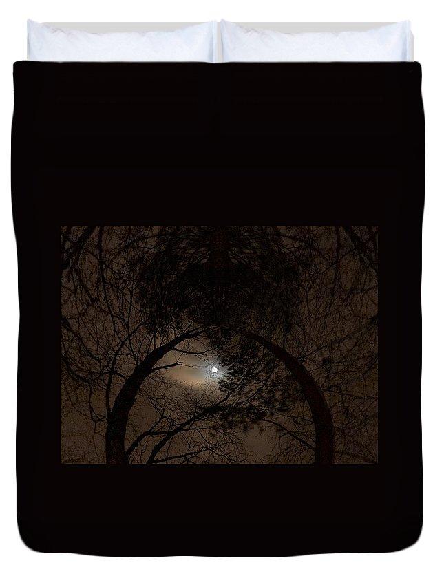 Lehtokukka Duvet Cover featuring the photograph Moonshine 14 The Trees by Jouko Lehto