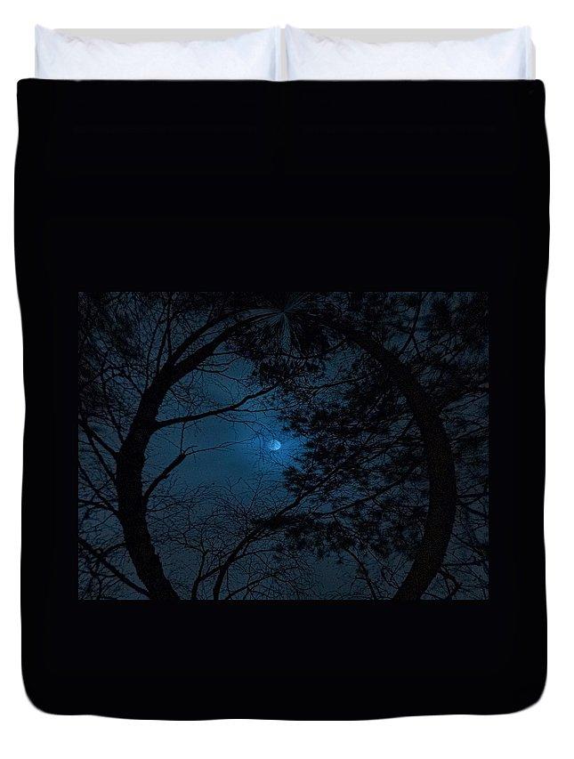 Lehtokukka Duvet Cover featuring the photograph Moonshine 16 The Trees by Jouko Lehto